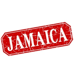 Jamaica red square grunge retro style sign vector