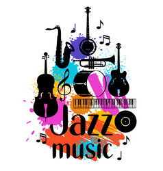 Jazz music grunge poster with musical instruments vector