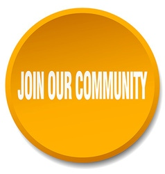 Join our community orange round flat isolated push vector