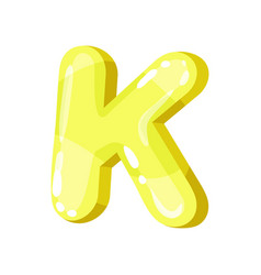 K yellow glossy bright english letter kids font vector