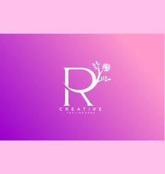 letter r linked fancy logogram flower logotype vector image
