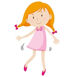 Little girl in pink dress vector image
