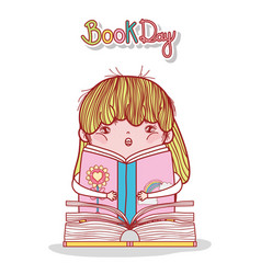 little girl reading book literature cartoon vector image