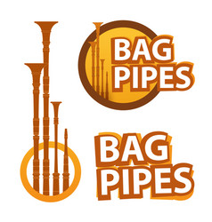 logo with bagpipes on white and black vector image