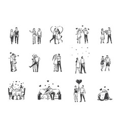 Love enamored people concept sketch hand drawn vector