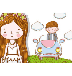 Man and man wedding with car and clouds vector