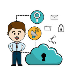 Man with cloud data wifi and technology icons vector