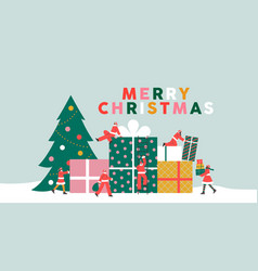 merry christmas santa claus people with gift box vector image