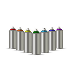 Metallic cans of spray paint in various colors vector