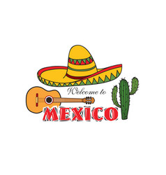 mexican icon welcome to mexico sign travel sign vector image vector image