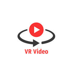 Minimal red vr video icon vector