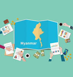 myanmar burma country growth nation team discuss vector image
