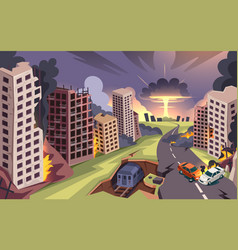 Nuclear bomb explosion war ruined burning city vector