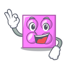 Okay toy brick character cartoon vector