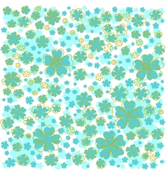 Pattern with yellow lined and blue colored flowers vector