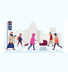 People walking on safe crosswalk in city vector