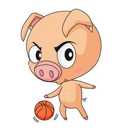 Pig basketball vector