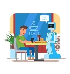 robot waiter serving cola vector image