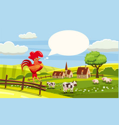 rural cute farm view rooster cow sheep cock vector image