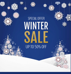 sale banner with christmas tree and snowflake vector image
