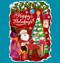 santa claus and christmas tree winter holidays vector image