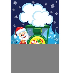 Santa on train vector image