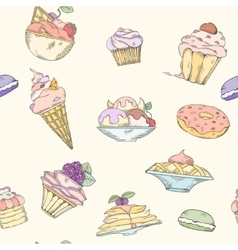 Seamless pattern of cakes vector image