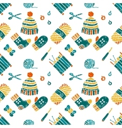 Seamless pattern on a knitting theme things vector