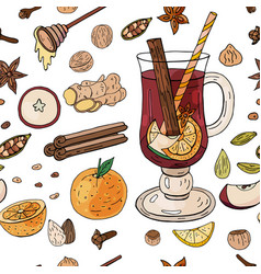 seamless pattern with mulled wine fruites and vector image
