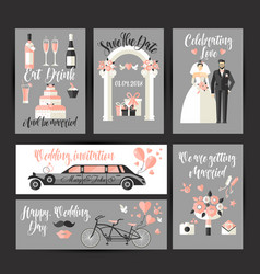 Set cards for wedding design decoration in vector