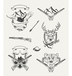 set hunt emblems badges labels and designed vector image