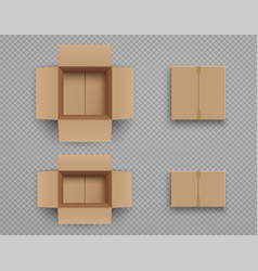 set mockup closed and open cardboard boxes vector image