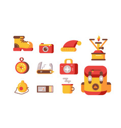set necessary things for tourism and travel vector image