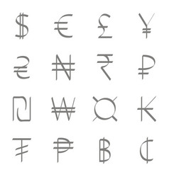set of monochrome icons with currency symbols vector image