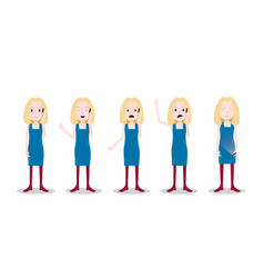 Set teen blonde girl character different poses and vector