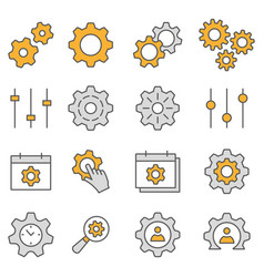 Settings flat line icon set vector