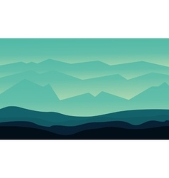 Silhouette of hills flat vector image