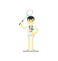 smiling man badminton player with medal vector image