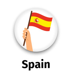 Spain flag in hand round icon vector