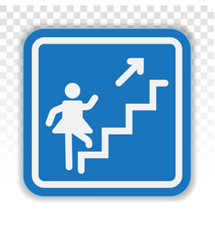 Stairs steps staircase or stairwell sign line vector