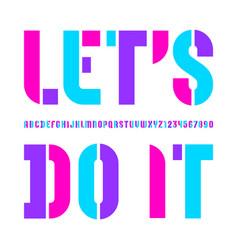 Stencil colorful font bright alphabet vector