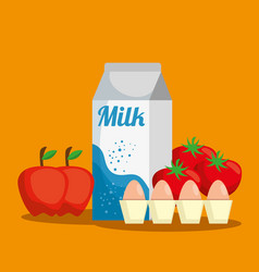 Supermarket set products with special offer vector