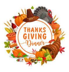 thanks giving dinner round frame with crop vector image