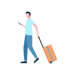 Time to travel man with luggage and smartphone vector