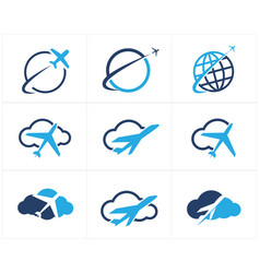 travel logos set airplane in cloud icons vector image