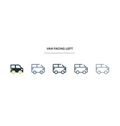 Van facing left icon in different style two vector