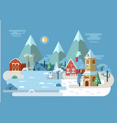 Village at winter with house and barn church vector