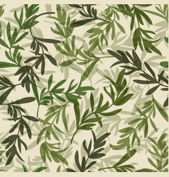 Vintage green leaves seamless pattern vector