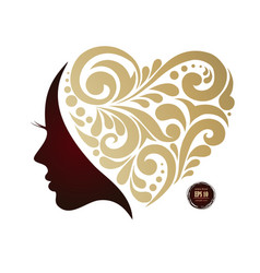 Woman s silhouette hair beautiful icon face vector
