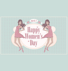 Womens day greeting card with beautiful ornament vector